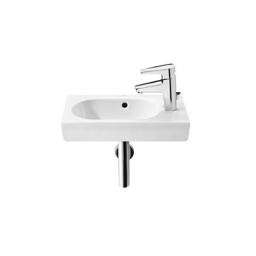 Roca Meridian-N Square Cloakroom Basin - 450mm - Right Handed - 1 Tap Hole - White
